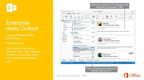 The leaked slides suggest the Mac version of Outlook will get a particularly big overhaul. (Source: CnBeta)