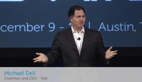 Michael Dell on the live feed from this week's Dell World conference.
