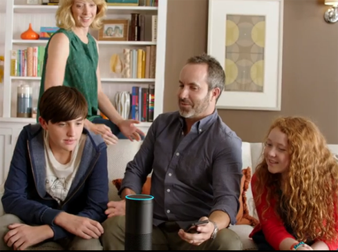 A family peppers its new Echo with questionsin an Amazon promotional video.