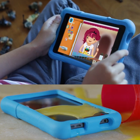 Amazon Fire HD Kids Edition Do really want to hand over your new and precious iPad Air 2 to the grimy hands of a toddler? Amazon's Fire HD Kids Edition is a durable, affordable, and surprisingly well-equipped tablet, particularly given its $150 (6-inch) or $190 (7-inch) price. It packs a quad-core CPU, a gig of RAM, a 1280x800-pixel display, and 8 GB of storage (4.5 GB is available). Amazon tosses in a year of access to Free Time, its curated library of children's books, games, and videos. The best part, though, is the kid-proof warranty: If the tablet breaks within two years, Amazon will replace it for free -- no questions asked.