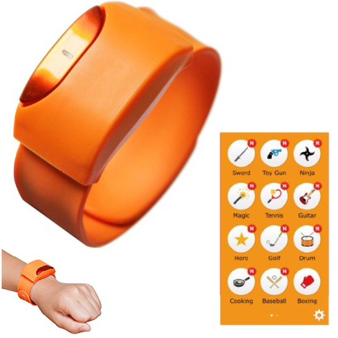 Moff Band   Finally, a wearable for kids! OK, maybe parents haven't exactly been clamoring for a wristband gizmo for their tech-savvy progeny, but the clever Moff Band ($55) may change that. When worn on the wrist, the Moff Band senses motion and adds sound effects to playtime activities. The companion iOS app includes a variety of sounds, such as 'Ninja,' 'Magic,' and 'Boxing,' which it plays from the speaker of an iPhone or iPad. (Android support is coming, the company says.) A single iPhone/iPad supports two Moff devices, thereby allowing Moff-wearing kids to interact by adding sound effects to a mock sword battle, for instance.