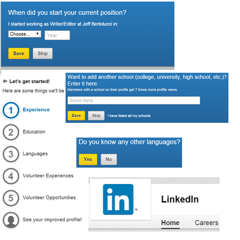 Complete your LinkedIn profile LinkedIn might be the de facto social platform for business networking, but many of us don't take it all that seriously. This is a mistake, as recruiters and employers comb the service to find fresh talent. Take a close look at your LinkedIn profile. Does it provide a comprehensive overview of your accomplishments, skills, and goals? If not, it's fairly easy to fill in the blanks, as LinkedIn's profile builder (see image) can step you through the process. The service's Sales Solution Blog has plenty of tips on bolstering your personal brand, such as posting compelling status updates, and actively participating in online discussions rather than being a passive lurker.     