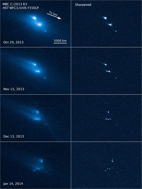 A closer look at asteroids In March, NASA released a series of images (above) of the breakup of an asteroid into as many as 10 pieces, as observed by the Hubble Space Telescope. (The observations were actually recorded in 2013.) The disintegration was apparently not the result of a collision between two space rocks, which would have been more cataclysmic and sudden. Instead, scientists think it represents the final result of erosion caused by the radiation of the sun. In January, the Herschel space observatory, another orbiting telescope, recorded the first definitive evidence of water vapor on Ceres, the largest asteroid in the solar system. Hershel is a European Space Agency mission that operates with support from NASA. Though Ceres is large enough that it could also be considered a slightly underweight planet, many of these rocky bodies are more like the size of a mountain. Most orbit between Mars and Jupiter, but some cross closer to Earth, and one that connected with our planet is thought to have caused the extinction of the dinosaurs. Some of the mission plans NASA is considering involve visiting an asteroid, or perhaps capturing a small one to tow into Earth orbit for further study.