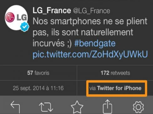 1. LG's 'bendgate' faux pas  Following the launch of Apple's supersized iPhone 6 Plus, photos and videos went viral showing how easily the device reportedly bent in users' back pockets. A number of brands, including LG France, jumped on the opportunity to capitalize on the scandal, dubbed 'Bendgate.'  LG's tweet roughly translated to 'Our smartphones don't bend, they are naturally curved' -- a snarky tweet from the phone maker, which included an image of the LG G Flex. The problem? The tweet was sent from an iPhone.