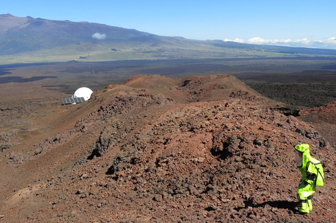 EVA with the dome habitat in the background.(Image: Zak Wilson's Almost Mars blog)