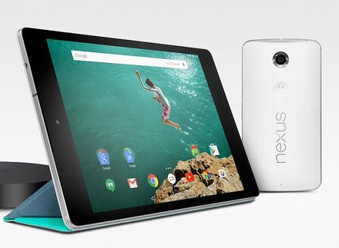 Google Nexus 9 tablet and Nexus 6 smartphone.