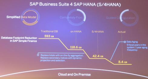 Hasso Plattner's explanation of the simplification possible with S/4Hana's finance app: 593 GB reduced to 42 GB, with only 8.4 GB being dynamic, current-year data requiring high availability and backups.