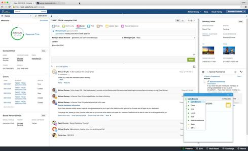 This screen shot of Salesforce Service Cloud Intelligence shows a service case handed off from Twitter to email to support a detailed response.