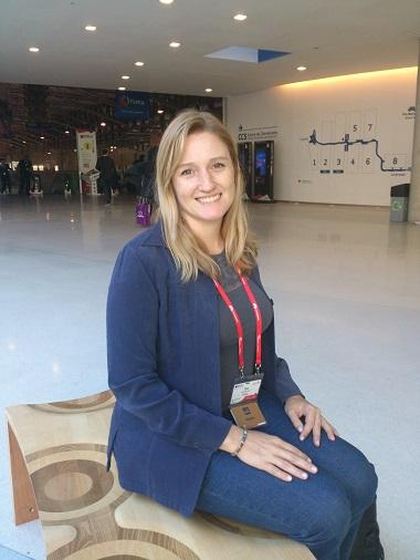 Eve Andersson, who works at Google Research, at the Mobile World Congress in Barcelona.