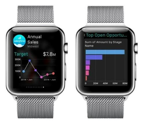 Salesforce Analytics Cloud Apple Watch app users will be able to drill down on favorite charts and KPIs.