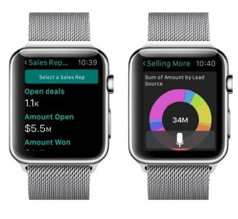 Saleforce1 Mobile apps for Apple Watch will let salespeople see and drill down on timely insights for upcoming sales calls.