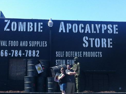Zombie Apocalypse Store  The Zombie Apocalypse Store is one of the hardest things to describe. The owner describes it as 'a delicate dance between the fun and functional.' Part tourist trap, part real-life prepper store, it features zombie t-shirts and shooting galleries, but also water pouches, food that will last 25 years, and weapons. The store has a phrase they like to ask their preppers: 'What's your zombie?' That is code for 'What keeps you up at night and makes you buy all of this stuff?' Aside from buying a pair of brass knuckles that doubles as a meat cleaver, you can also go out to the special 'zombie shooting experience.' You get a paint gun that looks real, and they throw a bunch of people dressed as zombies at you.' Here's a video. Survivor or zombie bait? Which one are you?  (Image: Kenny H via Yelp)