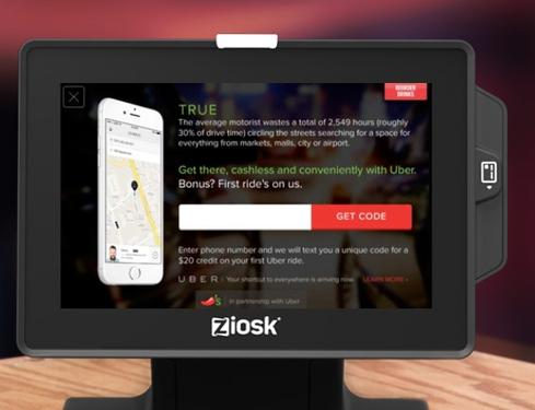The Ziosk 7-inch table-top tablet lets diners browse the menu, order food and drinks, play games, call for service, sign up for promotions, and swipe credit cards to pay the check.