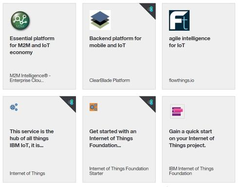 Six IoT-related services already available on the IBM BlueMix cloud application platform.