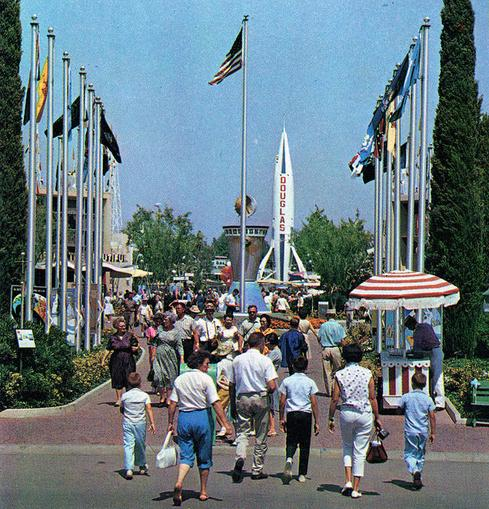 Entrance To Disneyland Tomorrowland 1963  One of the funniest things about Tomorrowland is watching how the colors of the future changed. Early Tomorrowland was very white. (Image: Tom Simpson via Flickr)