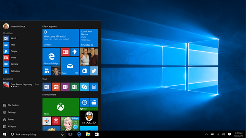 The familiar start menu is back.