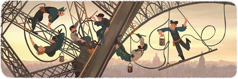 Eiffel Tower Anniversary On March 31, 2015, Google celebrated the anniversary of the Eiffel Tower's public opening. The tower's construction was finalized on the same day in 1889, 126 years earlier. (Image: Google)