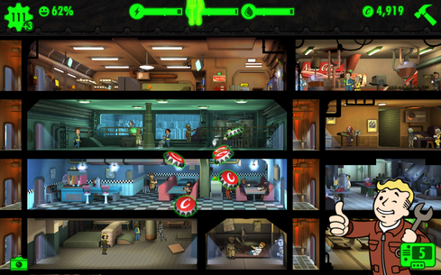 Fallout Shelter Fallout Shelter is based in the popular Fallout game world. You build your own 'vault' after a nuclear holocaust and attract people to live in the vault to establish a perfect society. This is not the first (nor the last) builder game we'll see for mobile devices. But the combination of a well-known world and gaming style makes this an enjoyable choice.  (Image: Bethesda Software via Google Play Store)