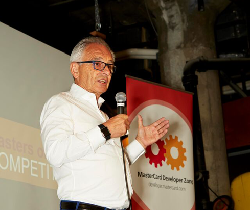 Jean-Louis Gassee welcomes participants to the San Francisco competition in MasterCard's Masters Of Code series of hackathons.