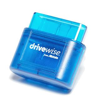 The Allstate Drivewise device. This device connects to the vehicle's OBD-II port.