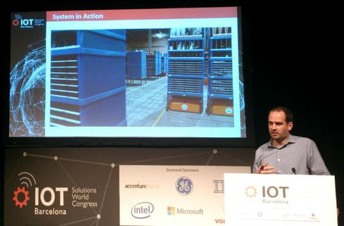 Joseph Durham of Amazon Robotics discusses the company's warehouse fulfillment project at IoT Solutions World Congress. (Image: Pablo Valerio)
