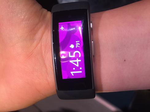 Curved Display  Microsoft Band 2 feels like less of an awkward accessory and more of a comfortable bracelet. This is due to softer material and a curved, full-color OLED display. The cover is made of Gorilla Glass 3 for improved touch response and scratch resistance.  It's also easier to make the Microsoft Band fit you. The device now comes in small, medium, and large sizes, and you can tighten or loosen the strap to adjust as needed. It fit comfortably around my wrist and the touch screen worked well. The keyboard is tiny, as expected, but the device did a decent job of correcting mistyped words. That said, it would be difficult for someone with larger hands to navigate the keyboard. I'd choose the Band for its fitness features over its note-taking capabilities.