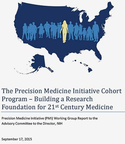 The Precision Medicine Initiative Cohort Program What if we could study the ongoing health records of more than 1 million people to learn which individuals respond to certain types of drugs, are at risk for a certain disease, maintain health and fitness, age, and die? That's the goal of the $130 million Precision Medicine Initiative Cohort Program (part of a precision health initiative, with an overall $215 million annual budget) being done by the National Institute of Health. The goal is to enroll over 1 million Americans in the cohort in the next three to four years. The data (anonymous, of course) from all 1 million individuals will be furnished to any interested researcher who wants to study one of the largest cohorts ever made available. All members of the cohort will have their genomes sequenced, and their health history, lifestyle habits, and environmental exposures tracked. By doing so, the study will yield a treasure trove of big data. It will allow people to track the effectiveness of medicine based on genetic markers and identify certain biomarkers that signify that people might be at risk for a given disease. The cohort could also serve as a platform for smaller trials. For instance, if you needed 100 people with a specific genetic trait who are also taking a certain drug, it could take years to develop a cohort for a study. The Precision Medicine Initiative may be able to identify the people you need in minutes. The NIH also aims to use mobile apps and information from the trial to help the people in the trial lead healthier lives. The agency hopes that by their example they will encourage healthier lifestyles in the general population. IT's advances in mobile devices, cheaper genome sequencing, databases, big data, and electronic health records make knowledge and health goals possible. (Image: National Institute of Health)
