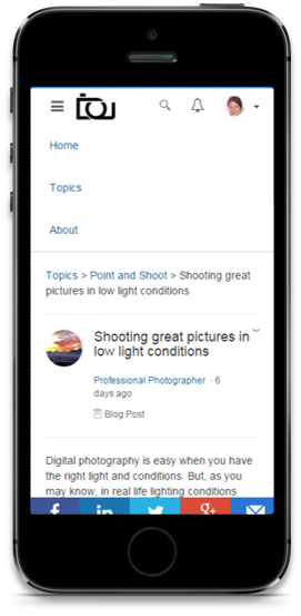 SAP Jam Communities, edition for hybris, dynamically builds engagement pages for mobile devices as well as desktop screens. (Image: SAP)
