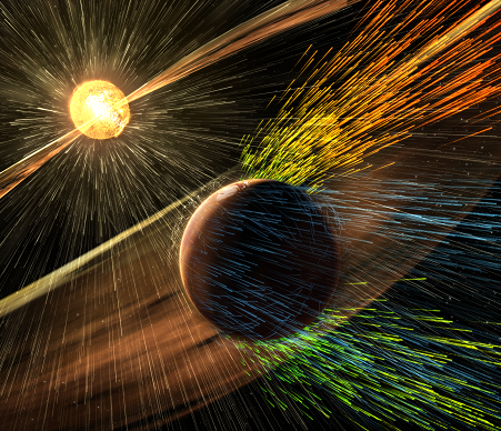 A solar storm strips ions from the Martian atmosphere in this artist rendering.  (Image: NASA/GSFC)