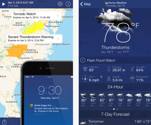 11 iphone android weather apps for rain or shine for Application iphone temperature interieur