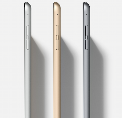 Size Upon first glance, the most obvious difference between iPad Pro and Surface Pro 4 is the size. Apple's tablet display is noticeably larger at 12.9 inches; the Surface Pro 4's measures 12.3 inches. While the iPad's bigger screen may be a welcome benefit for some professionals, the 0.5-inch size difference shouldn't make or break your decision. Both displays, which far exceed the 9.7' iPad screen, are comfortably sized for everyday productivity. The iPad Pro, which measures 0.27 inches in thickness (sans keyboard) and weighs 1.57 pounds, is both lighter and thinner than the Surface Pro 4. Microsoft's hybrid is 0.33 inches thick and weighs 1.73 pounds for the Core i5 model; 1.69 pounds for the entry-level Core m3. (Image: Apple)