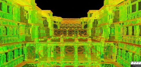 A 3-D scan of Rani ki Vav facing east.  (Image: CyArk)