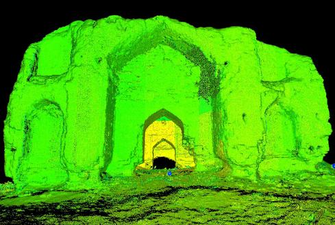 A 3-D scan of the Timurid Pavilion, a remnant from the Timurid Empire, a late 14th century CE Turko-Mongol Dynasty in the remains of ancient Merv.  (Image: CyArk)