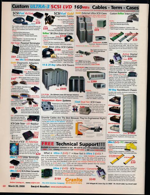 Options, Options, Options We had options. Lots of options. Every printed computer magazine (including InformationWeek) had entire sections devoted to ads from mail-order computer companies, printed with ever-teenier print in order to fit every product on a single magazine page. Each mail order company promised to sell you equipment from any vendor you liked -- presumably at the lowest possible price. Some mail order companies specialized in one kind of product, as you can see in the above ad (circa 2000), with all its attention on SCSI hardware. My favorite item here is The Book of SCSI: An Adventure! Other mail-order firms sold only programming tools, camera equipment, or computer memory. Magazines had page after page of ads like this, and many people loved reading them in the wish-book sense of 'Wouldn't it be fun to buy that?' These mail-order ads supported a healthy marketplace of computer publications, wherein the articles explained how each of those hardware components worked, and how to choose the best device. (Image: Scan of Granite Digital ad, 2000, from the author's private collection)