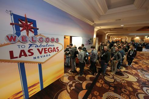 Media filing into CES 2015 Unveiled on the eve of last year's show. The scene will look much the same this evening.