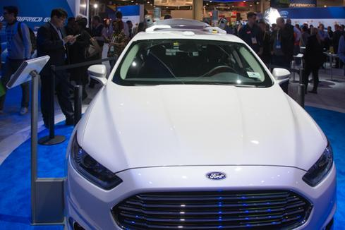 Ford's autonomous vehicle test bed drew a crowd at CES 2016.