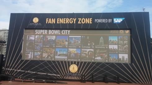 The 50-foot-wide social hub at the center of the Fan Energy Zone.  (Image: David Wagner)