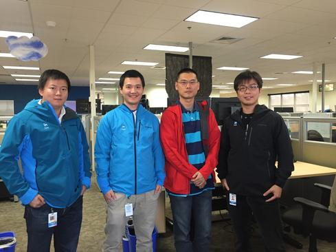 The WhereHows development team. From left: Jianyong Bai, Zhen Chen, Eric Sun, Zhaonan Sun