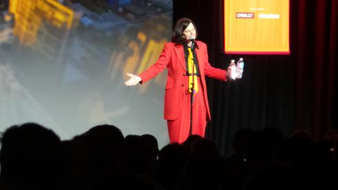 Comedian Paula Poundstone performed at Strata + Hadoop after the keynotes.  (Image: InformationWeek)