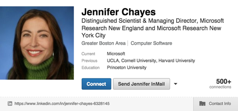 Jennifer Tour Chayes Distinguished Scientist and Managing Director at Microsoft Research ThisWomen in Data Science video interview about the promise of data science for solving big problems is worth watching. Chayes presented at the first Women in Data Science conference at Stanford in November 2015, talking about network science and its importance in studying everything from online social networks to cancer genomics.  'The big thing is to take risks. Women tend to feel that they need to be more highly qualified to do something,' Chayes said during the career panel discussion at the Women in Big Data event at Stamford in November. 'You shouldn't let your fear about your own abilities or a fear that you might be an impostor or something have any bearing on the kinds of decisions that you make. You should just take that part of your brain and say thank you for sharing and just put it aside. Seriously, just put it aside. We all have that part of our brain and if I'd listened to that part of my brain I would have had a very boring life.'  Chayes holds a PhD in Mathematical Physics from Princeton University.  (Image: Jennifer Tour Chayes LinkedIn)