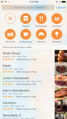 Apple Maps Help A new section within Apple Maps has been populated with data from Yelp to help with finding places to visit nearby. The app can recommend popular local spots, grocery stores, restaurants, coffee shops, bakeries and more. Maps can also provide more detailed information on mass transportation, provided you're in a city where the feature is supported. If you are, you can view multiple transit lines to get you from place to place, and tap individual lines to learn more information like which stops it serves.
