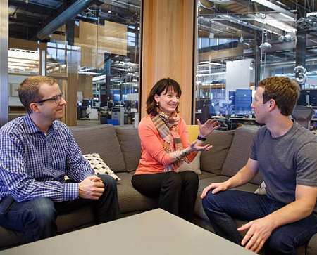 Mike Schroepfer, Regina Dugan, and Mark Zuckerberg