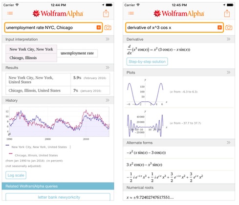 Wolfram|Alpha In its iTunes description, the developer introduces its app this way, 'Remember the Star Trek computer? It's finally happening with Wolfram|Alpha.' This app provides instant expert knowledge and computation, based on 25 years of development led by Stephen Wolfram. The app uses a vast collection of algorithms and data to compute answers and generate reports. Parts of Wolfram|Alpha are used in the Apple Siri Assistant. Some of the domains covered in this app include several branches of mathematics from elementary math to algebra, number theory, and calculus; statistics and data analysis including regression and probability; chemistry; materials; engineering; astronomy; earth science; weather; places and geography; culture and media; words and linguistics; organizations including companies; and food and nutrition.  Price: $2.99 Developer: Wolfram Group (Image: iTunes)