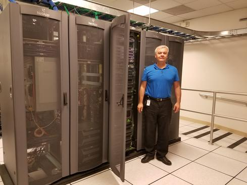 Renato Siljeg, Exar's vice president of IT, standing in one of the company's data centers.