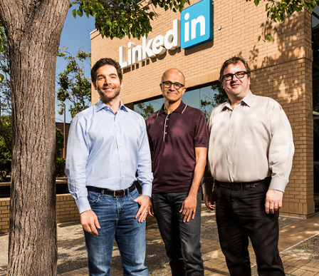 From left: LinkedIn CEO Jeff Weiner, Microsoft CEO Satya Nadella, LinkedIn cofounder and board chairman Reid Hoffman