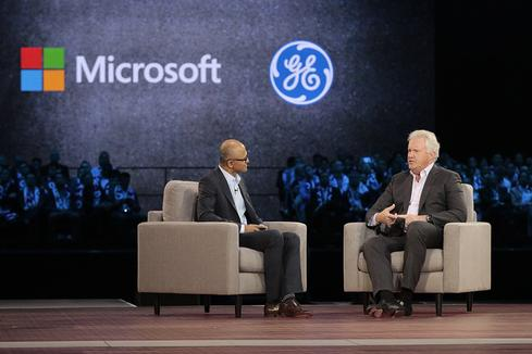 Microsoft CEO Satya Nadella and GE CEO Jeff Immelt.