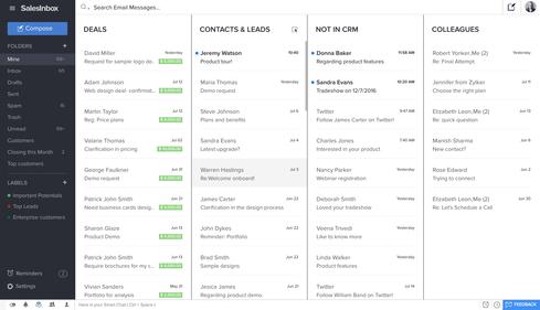 SalesInbox organizes email along CRM lines.  (Image: Zoho)