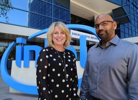 Intel's Diane Bryant with Nervana's cofounder Naveen Rao. (Image: Intel)