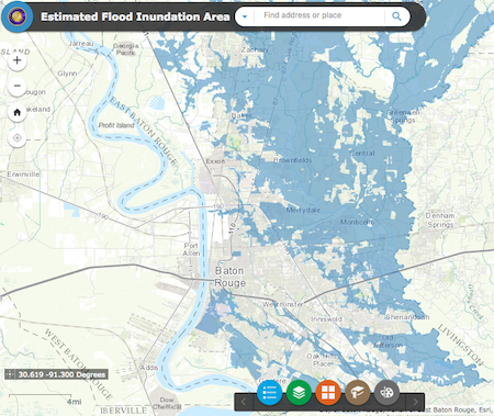 Baton Rouge Estimated Flood Inundation Map (click here for the live map, which is updated in real time)