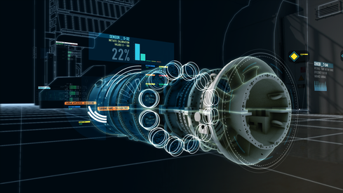 GE schematic of a windmill turbine, part of a digital twin record.